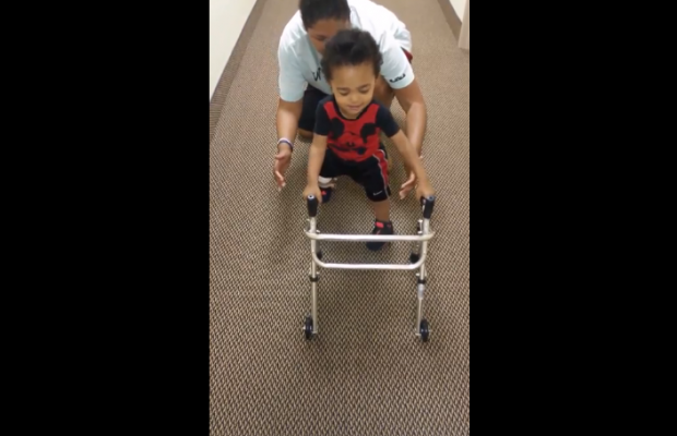 "2-year-old declares ""I've got it"" while walking on prosthetic legs"